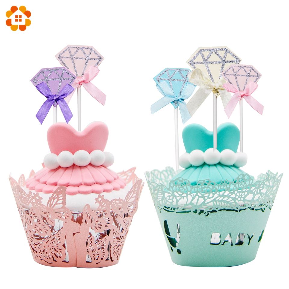 10PCS Bling Diamond Cake Toppers Cocktail Decoration Topper Picks Party Favors DIY Baby Shower Wedding/Birthday Party Supplies