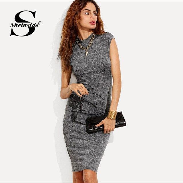 f559f12db3 Sheinside Szary Bodycon Midi Sukienka Kobiety Cap Rękawem Zwykły Forma  Montażu Drutach Sukienka Panie Biurowe Odzież