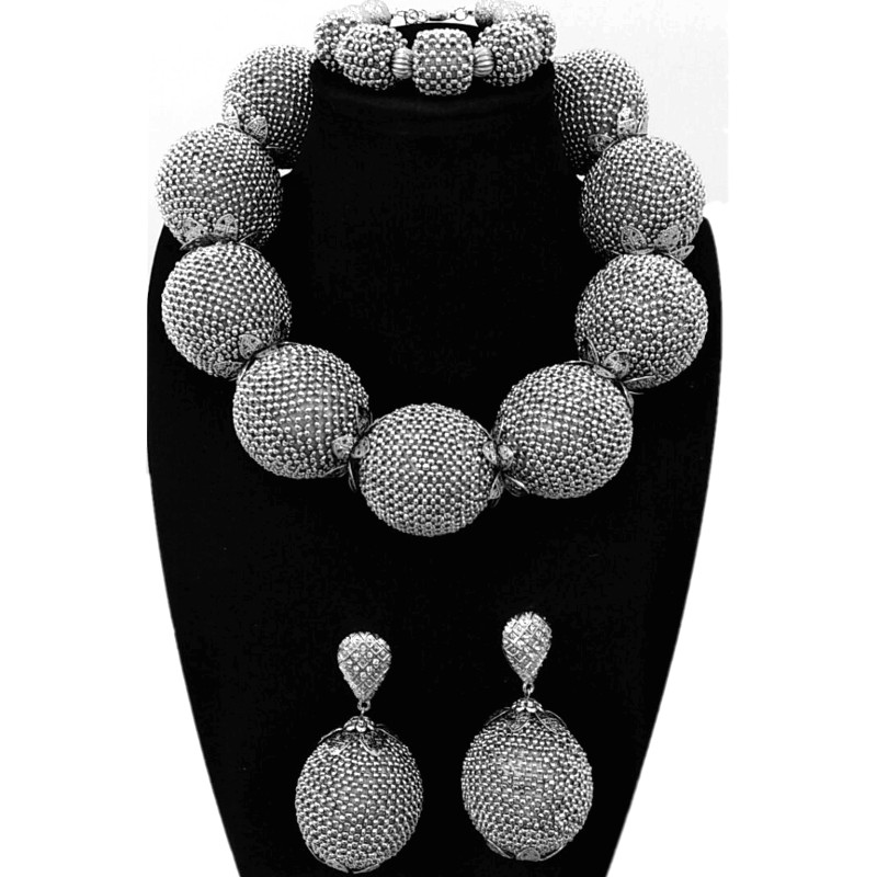 HTB1W0m6iiOYBuNjSsD4q6zSkFXa3 4ujewelry Fine Jewelry Sets For Women Silver Necklace Sets For Brides Big Balls Bold High Quality Dubai Jewelry Sets Free Ship