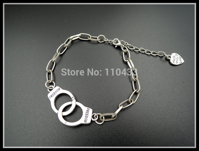 INSPIRED 50 FIFTY SHADES OF GREY inspired chain bracelet love partner in crime freedom BF182