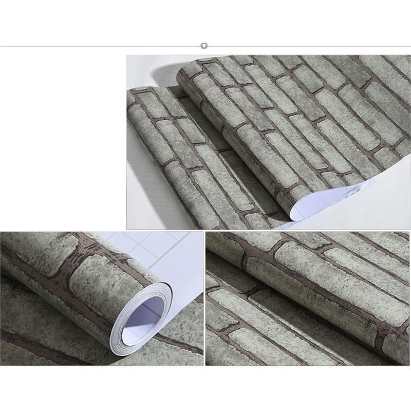 0.45x10 M Diri Perekat stiker dinding vinyl Batu Bata wallpaper Kamar - Dekorasi rumah - Foto 6