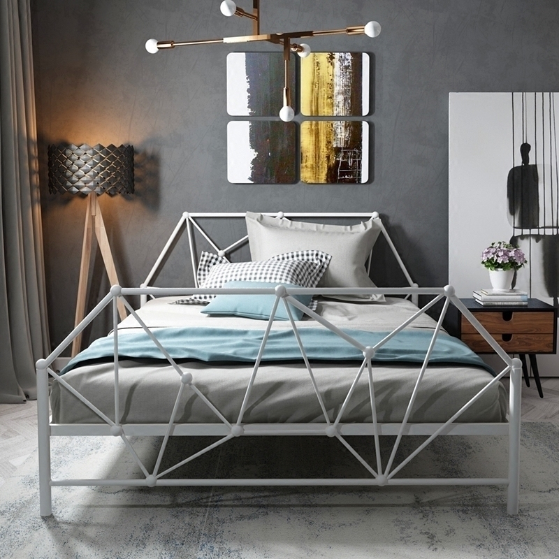 European Type Contemporary Contracted Iron Art Bed Adult Children Iron Bed 1.2m 1.5m Single Double Iron Frame Bed Princess Bed