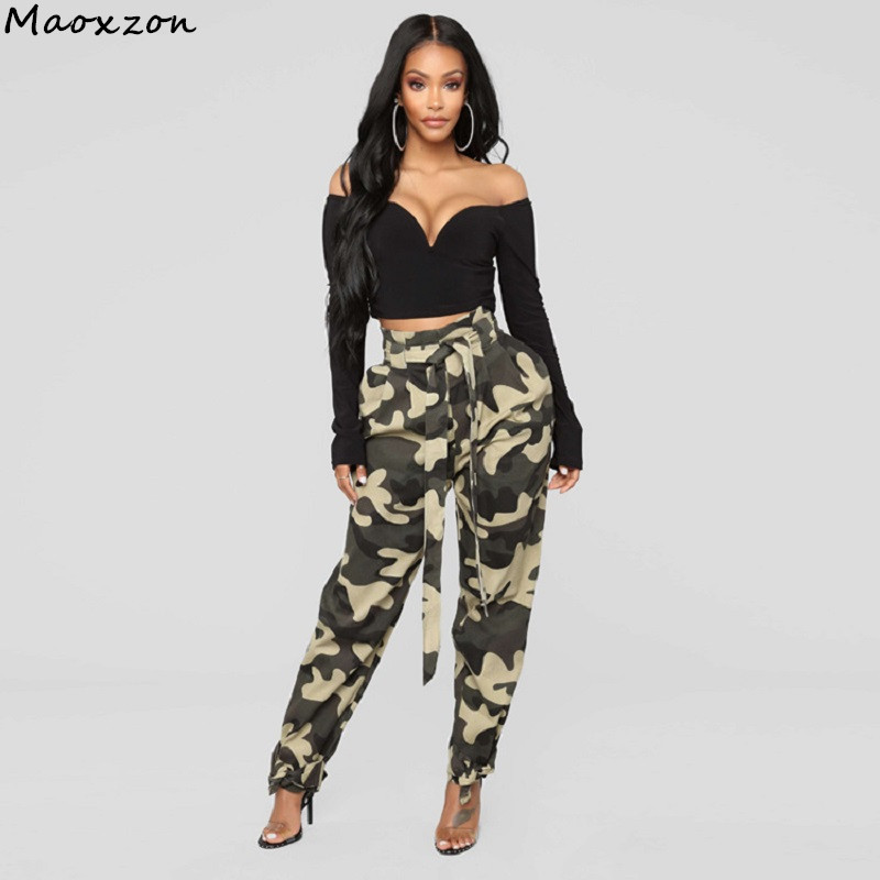 Maoxzon Womens Fashion Loose Camouflage Harem Pants For Female New Europe and America Style Casual Belt Capris Trousers Pants