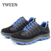 YWEEN New Men Safety Work Boots Fashion Autumn Breathable Mesh Steel Toe Casual Shoes Mens Labor Insurance Puncture Proof