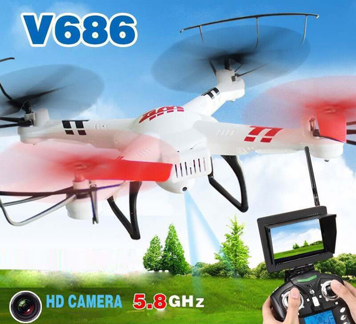 WLtoys V686 V686G 5.8G Video FPV Drone RC Quadcopter Helicopter with 2MP 720P HD Camera Professional Drone  F15059
