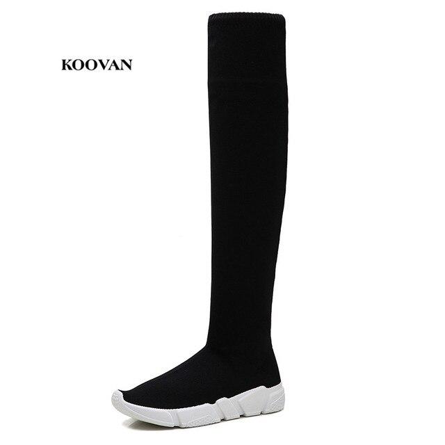 Koovan das Mulheres Sobre O Joelho Botas Longas Sapatos Meninas 2018 Novos Finas Elásticas Altas Botas Flats das Mulheres Selvagens meias Sapatos Sexy