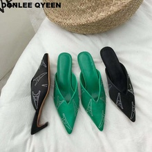 купить 2019 New Fashion Women Slippers Pointed Toe Runway Shoes Sexy Mules Thin Low Heel Slides Brand Silk Elegant Crystal Party Shoes по цене 1451.25 рублей