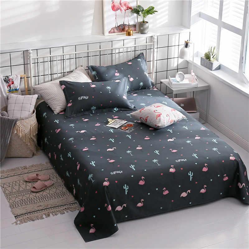 Домашний текстиль из 100% хлопка с мультяшным принтом, комплект из трех предметов, удобное мягкое модное постельное белье, 1 простыня + 2 наволочки, чехол