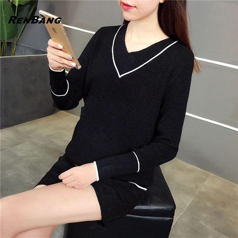 RENBANG Hot Sale Solid Color Soft Pullovers Female Cashmere Sweater Pure Casual V-neck Short Design Basic Knitted Pullovers