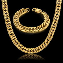 Hip Hop Style 14MM Cuban Chain Necklace & Bracelet Set For Men Gift Wholesale African Dubai Gold Stainless Steel Jewelry Sets