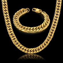 Hip Hop Style 14MM Cuban Chain Necklace & Bracelet Set For Men Gift Wholesale African Dubai Gold Stainless Steel Jewelry Sets(China)