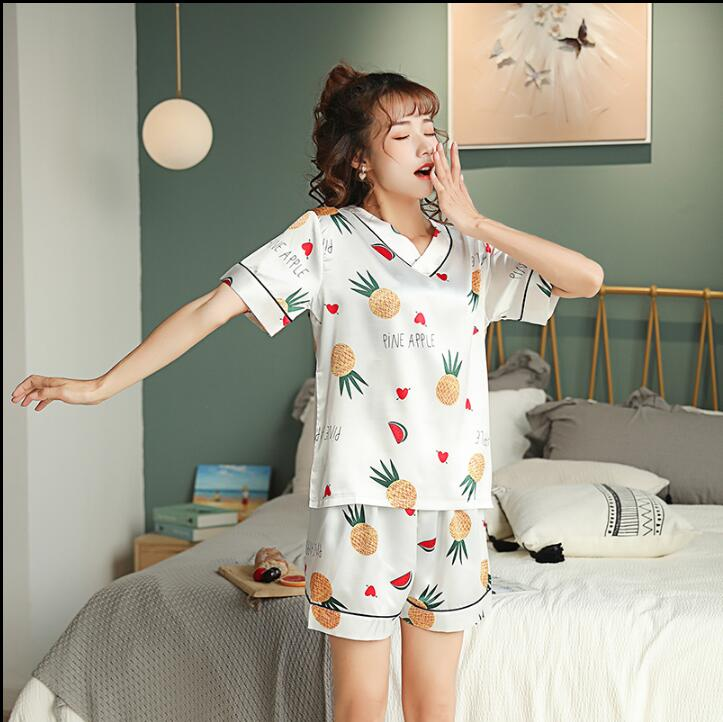 WAVMIT 2019 Women Comfortable Silk   Pajama     Set   Girl Print Pyjama   Set   short Sleeve Sleepwear Suit Women Nightshirt   Set   Young Style