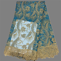 Excellent party dress material in blue with gold embroidery French lace fabric African net lace cloth EN4-6 multi color