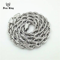 Men S 6mm 10mm Solid Stainless Steel French Rope Link Neck Chain Silver Twisted Necklace 24