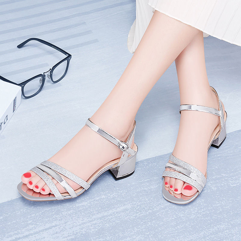 2019 Guciheaven Women Casual Sandals Sequins Sweet Princess Crystal Ankle Mid Heel Block Party Bling Silver Gold Buckle Strap-in Middle Heels from Shoes    2
