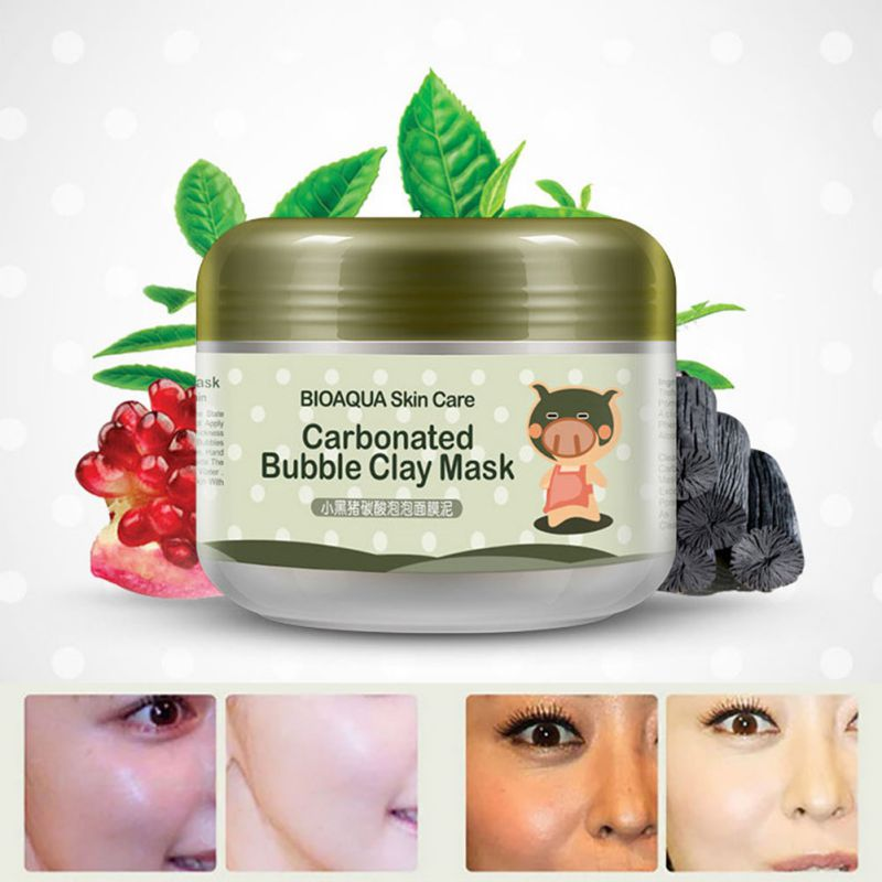 Kawaii Black Pig Carbonated Bubble Clay Face Mask Facial Mask Cleaning Whitening Skin Moisturizing Anti Aging Skin Care 5012tg secret key snow white milky pack 200g korea face mask moisturizing skin whitening anti aging facial mask beauty