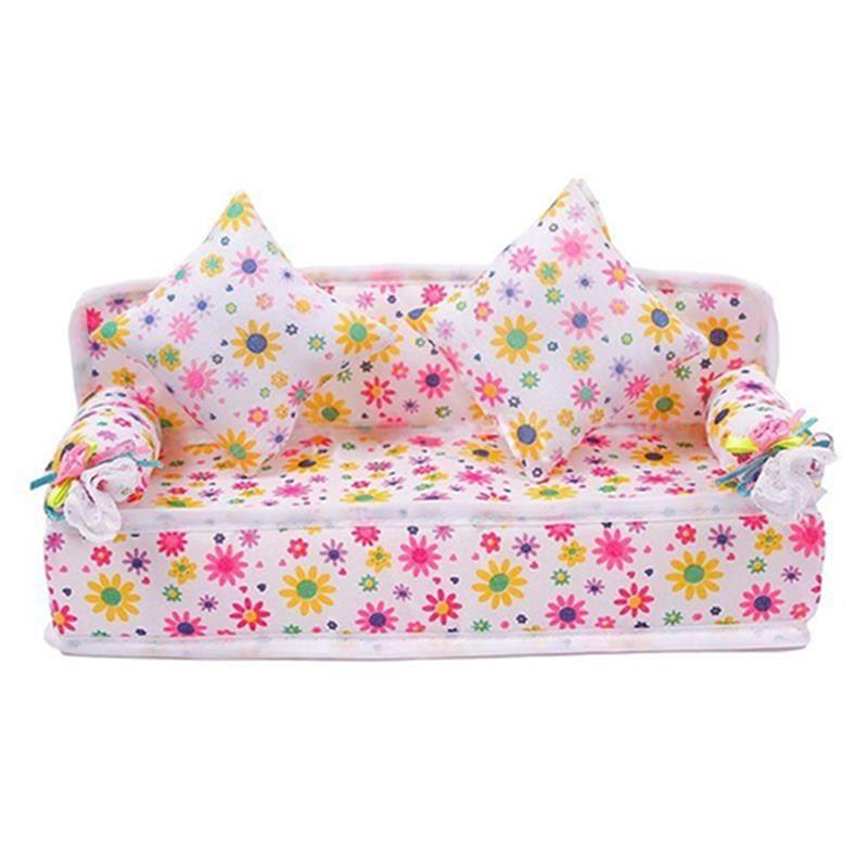 1/12 Dollhouse Lovely Mini Furniture Flower Sofa Couch With 2 Cushions Kit Set For Barbie Doll House Accessories Kids Toy Gift
