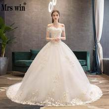 Wedding Dress 2019 Mrs Win The Elegant Lace Boat Neck Sweep Train Ball Gown Princess Luxury Lace Plus Size Wedding Dresses F(China)