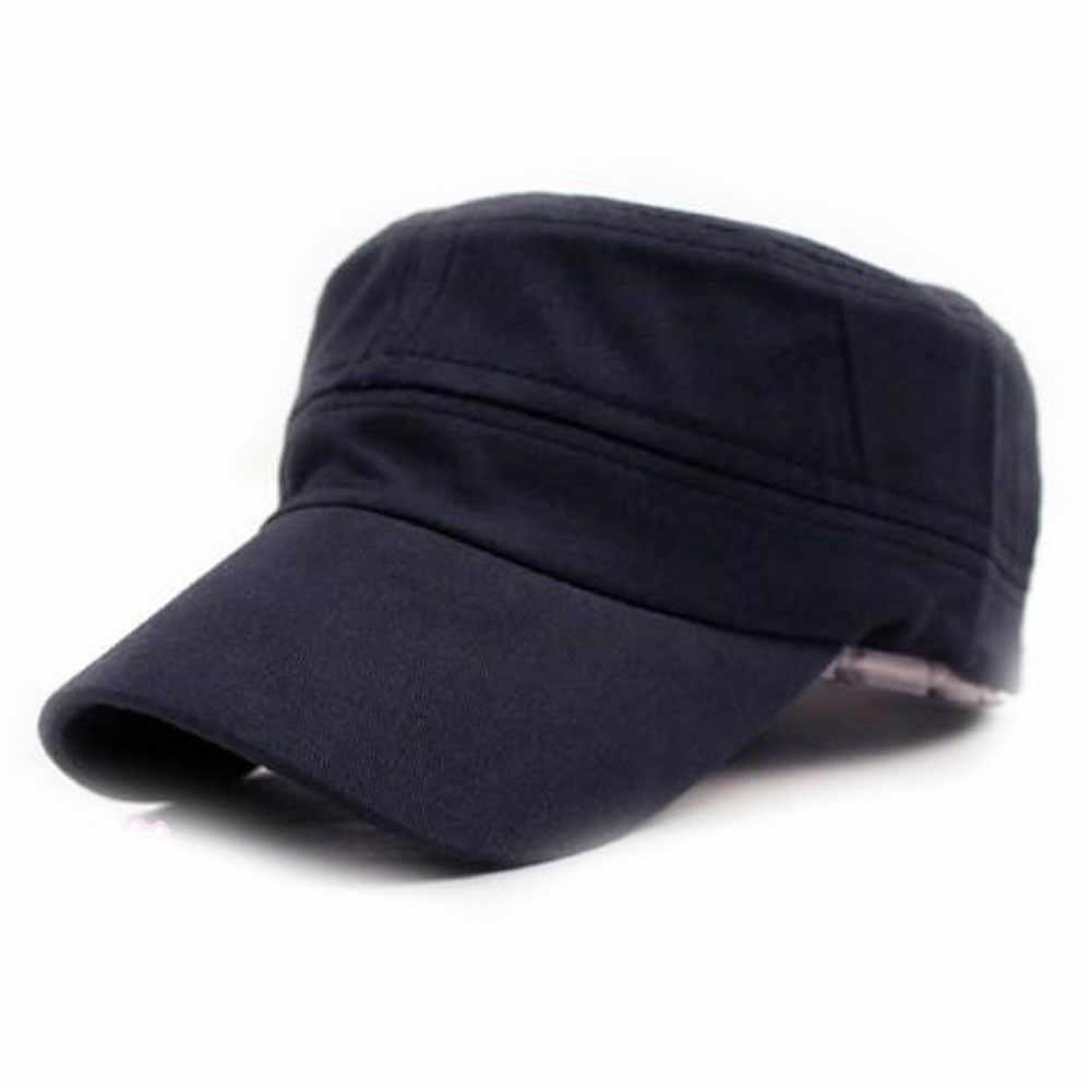 Unisex Bonés de Beisebol Verão Clássico Plain Vintage Estilo Militar Do Exército Cadete Tampão do Algodão Chapéu Ajustável Cor Sólida Dos Homens Chapéus