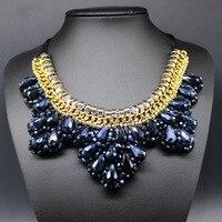 Azul resina GEM Slipknot collar falso collar Maxi declaración collar mujeres Boho Estilo Vintage collares/Gros Collier Boheme