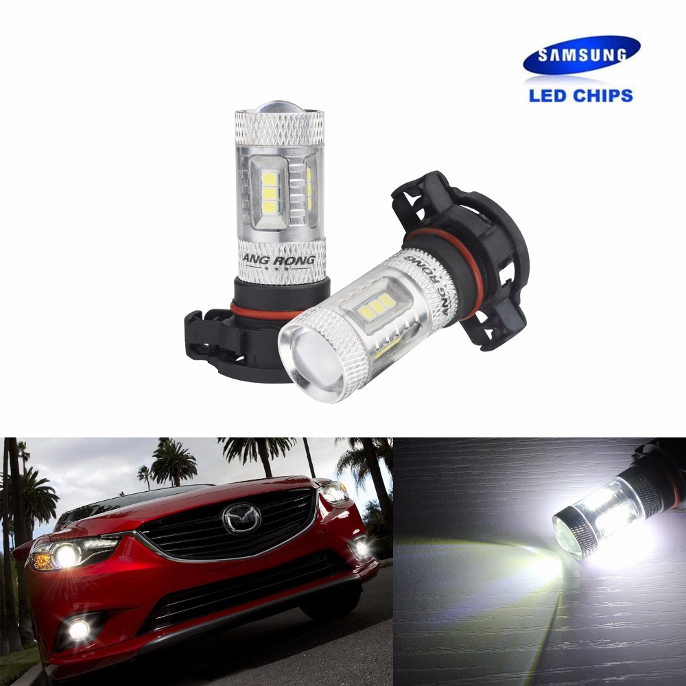 ANGRONG 2x H16 PS19W LED 15W Sidelight Daytime Running Light DRL PSX24W  5202 Bulb White 15 Samsung SMD (CA264x2)