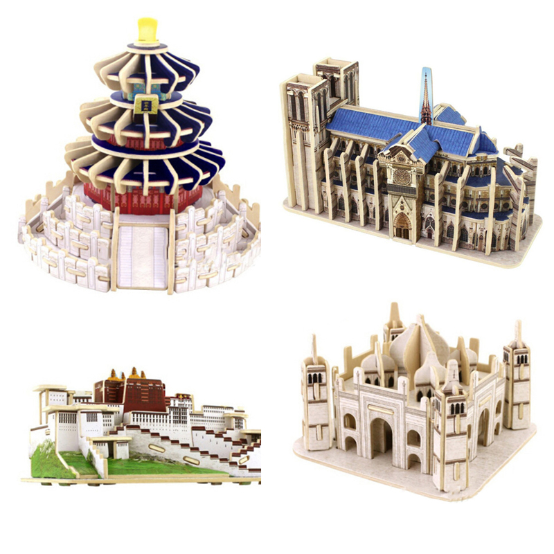 New Creative DIY Puzzle 3D Model Popular Toys For Children Wooden Famous Building Jigsaw Puzzles Games Wooden Puzzles Toy