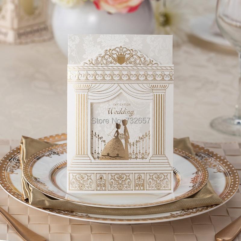 Gold Wedding Invitations Blank Cards Bride Groom 170 115mm Empty