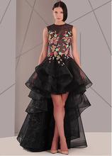 Sexy Sheer Top Abendkleider Schwarz Organza Kurze Vordere Lange Zurück Appliques Formale Party Kleid Rüscherands Great Gatsby Kleid