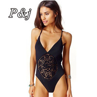 High Quality Crochet Hollow Out Swimsuit Women One Piece Swimwear Halter Bandage Triangular Bathing Suits High