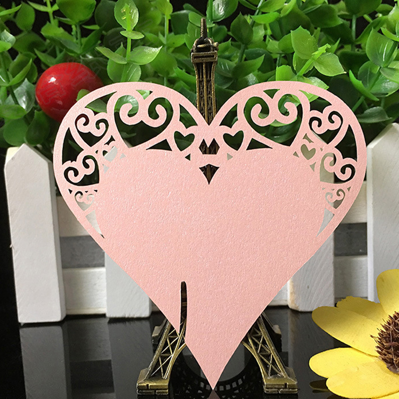 120pcs 9 Colors DIY Place Card Laser Cut Heart Shape Wedding Invitation Wine Glass Cup Paper Cards Name Card Wedding Party Decor