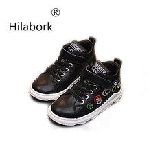 Hilabork 2018 autumn new children s shoes diamond boys and girls leather  high to help sports shoes 5e7138a1ee9b