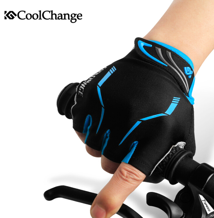 CoolChange Half Finger Cycling Gloves Mens Women's Summer Sports Bike Gloves Nylon Mountain Bicycle Gloves Guantes Ciclismo racmmer cycling gloves guantes ciclismo non slip breathable mens
