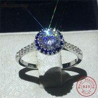Choucong ее 100% реальный Soild 925 Серебряное кольцо 1ct AAAAA Циркон Обручение обручальное кольцо кольца для Для женщин мужчин fine ювелирные изделия