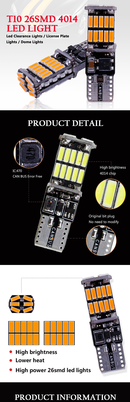 HTB1W0oYcRiE3KVjSZFMq6zQhVXaC RXZ t10 w5w canbus car interior light 194 501 led 26 4014 SMD Instrument Lights bulb lamp dome light no error 12V 6000K