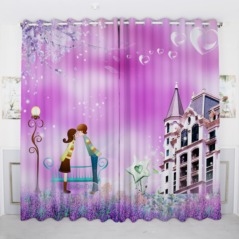 Korean 3D Blackout Curtains Romantic Purple Lavender