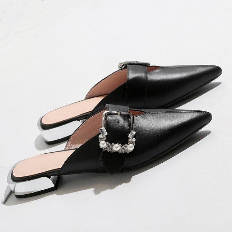 Véritable1 Livraison FemmesTaille34 42 Noir Cm blanc Cuir De GratuiteEn PantouflesPantoufles Shofoo ChaussuresBelle Avec 5 Bas Mode H2EDWbIY9e