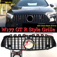 A-class LCI W177 grille GT R-style With Camera Sport Front Bumper A180  A200 A250 grills ABS Black Without Emblem 19+