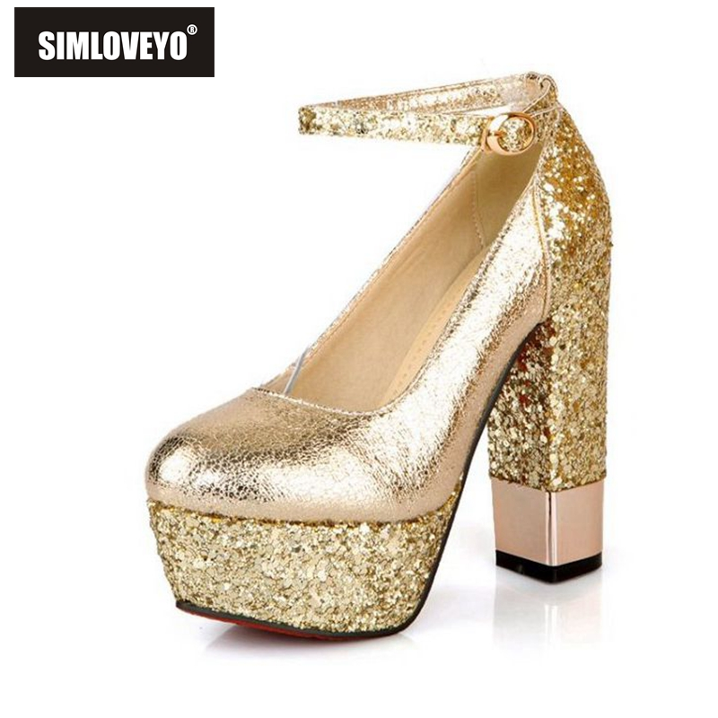 Aliexpress.com : Buy 13CM High Heels Platform Gold Silver Thick
