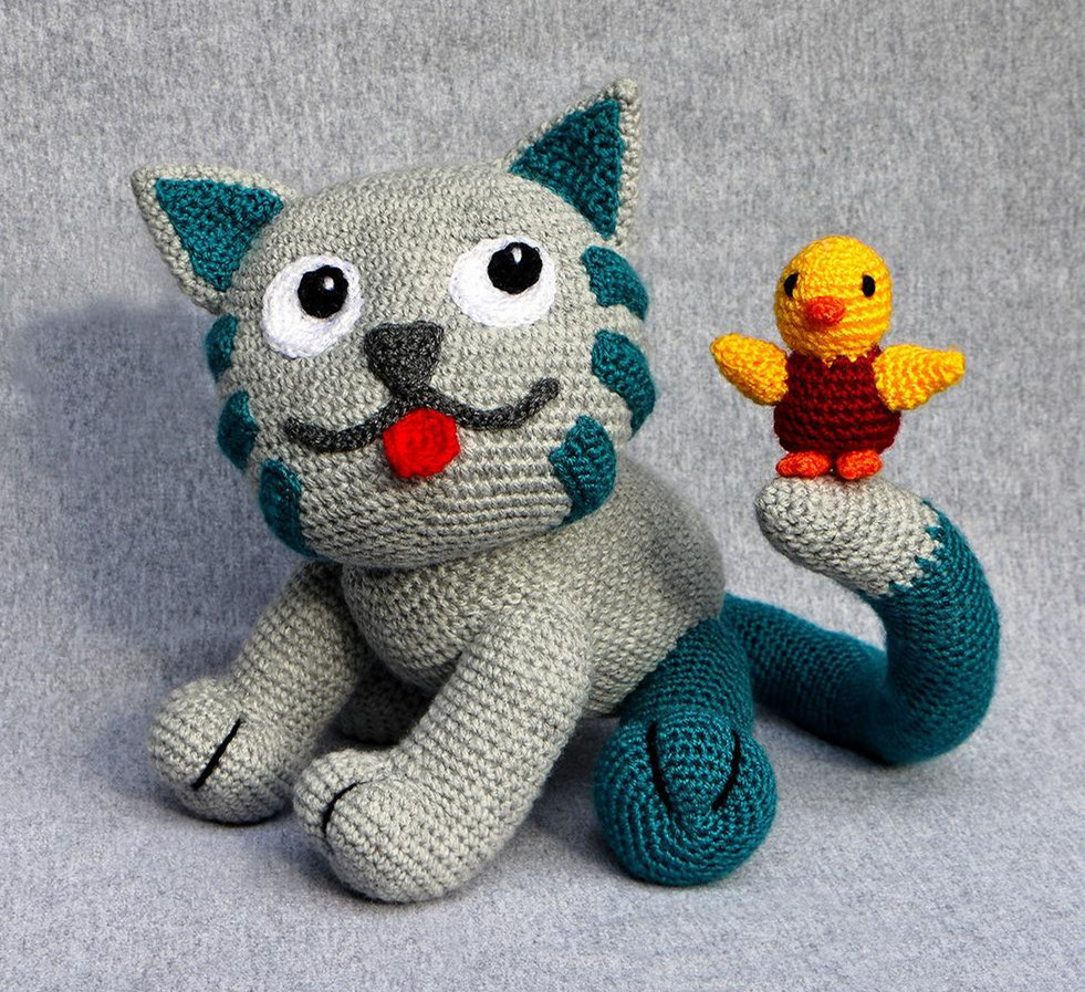 Crochet Toys  Amigurumi  Rattle  Cat  Model Number W45