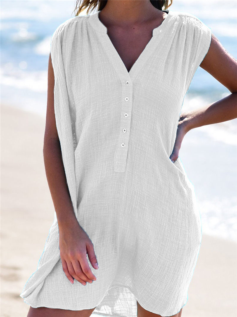 Women Beach Cover Up Summer Swimsuit Swimwear Swimming Suit Solid Dress V Neck Wrap Sarong Holiday Linen Bikini Cover Up