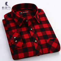Men's Red/black Plaid Checked Brushed Flannel Shirt with Left Chest Pocket Casual Long Sleeve Slim-fit Button Down Cotton Shirts