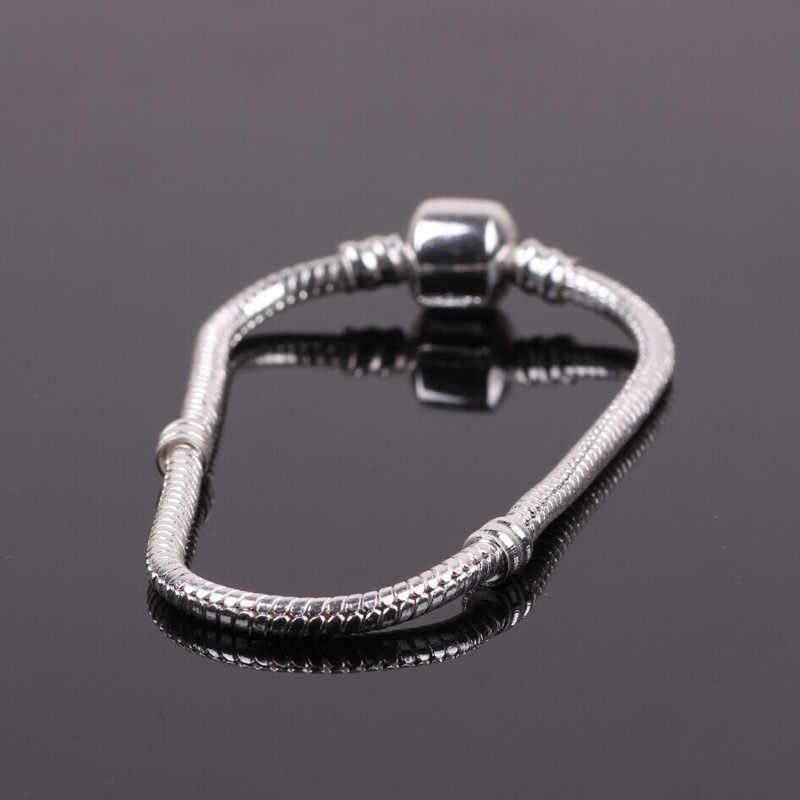 Couqcy Fashion 925 Charm Bracelet Silver Snake Chain Clip Clasp Bead Fit Women Bracelet Bead Charms DIY Original Jewelry