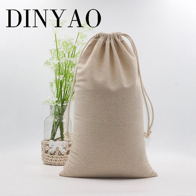 1pcs Lot 24 40cm Natural Cotton Linen Bag Whole Custom Logo Printed Drawstring