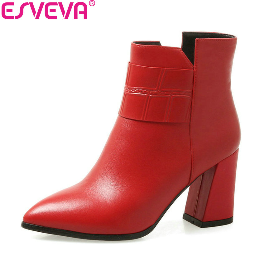 ESVEVA 2019 Women Shoes Pointed Toe Zipper Square High Heels Ankle Boots Shoes Western Style Autumn Woman Boots Size 34-39 esveva 2018 women boots zippers square high heels appointment warm fur pointed toe ankle boots chunky ladies shoes size 34 39