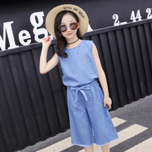 hot deal buy kids clothing sets girls summer denim clothing sets 2pcs girls sleeveless t-shirt+pants solid color children clothes