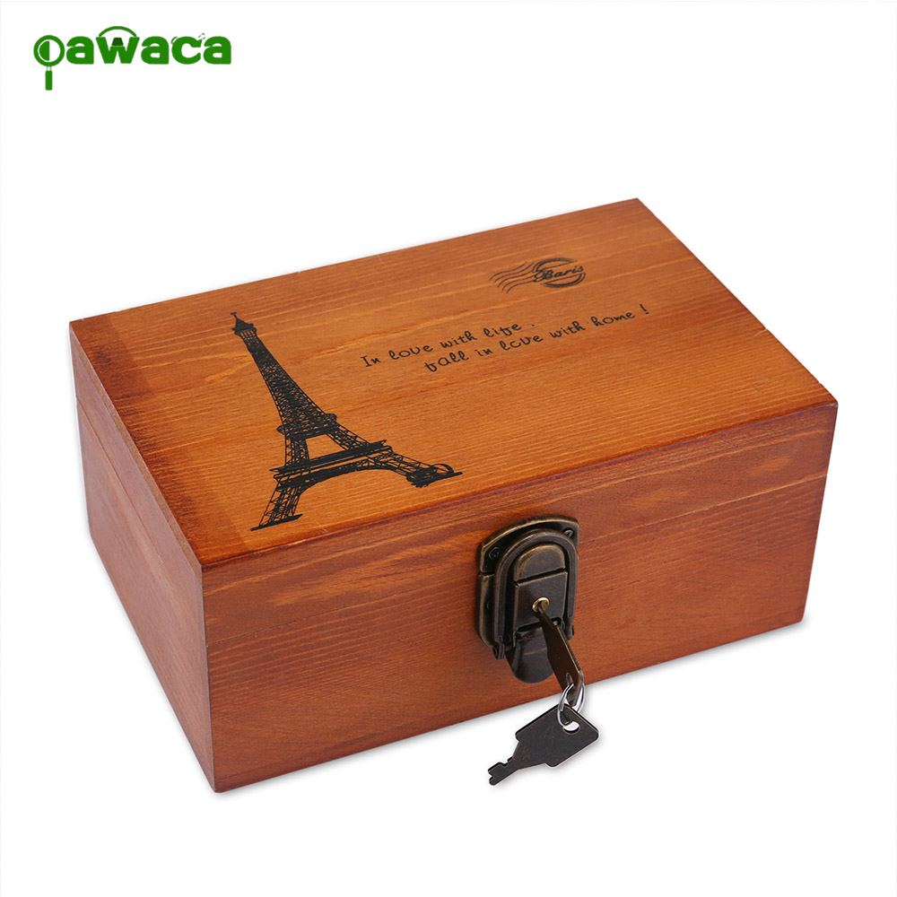 1Pcs Retro Paris Tower Wooden Vintage Lock Treasure Chest Jewellery Ring Coin Storage Box Cosmetic Wooden Case Holder Organizer