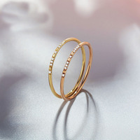 Hot Sale Solid AU750 Gold Channel Setting Ring Wedding Ring Band