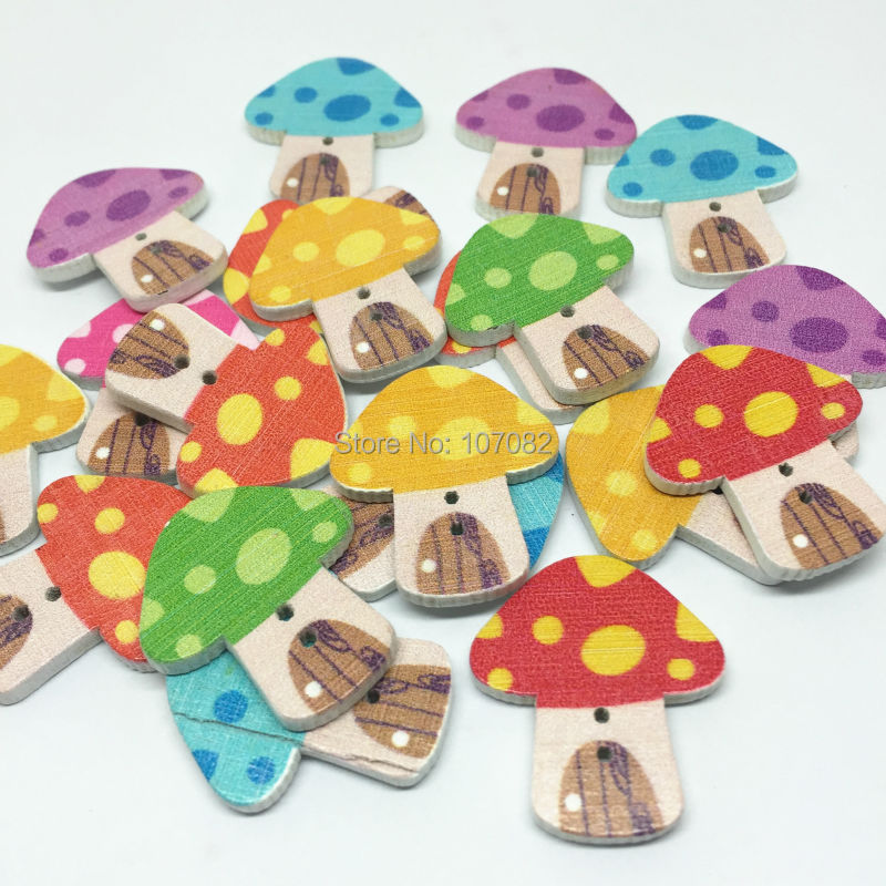 1000pcs 24x22mm Cute Toadstool Shaped Wood Buttons Sewing 2 Holes Mushroom Painted Card Making Embellishments