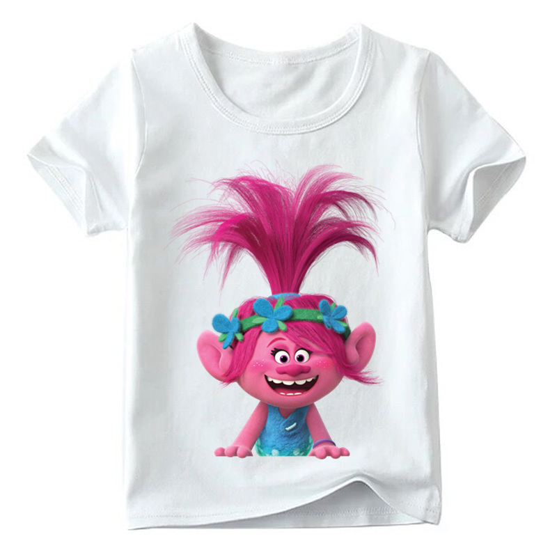 Baby Boys/Girls Cartoon Trolls Print Funny T shirt Summer Kids Short Sleeve Tops Children Casual Clothes,HKP2417 2018 kids girls clothes set baby girl summer short sleeve print t shirt hole pant leggings 2pcs outfit children clothing set