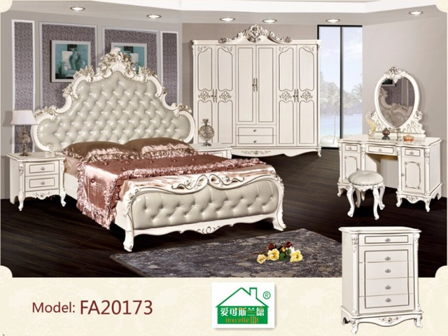 High End Solid Wood Clic Bedroom Suites Six Woolly White Atmosphere With Genuine Leather King Bed